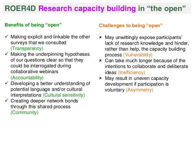 """ROER4D Research capacity building in """"the open""""  Benefits of being """"open""""   Making explicit and linkable the other  surve..."""