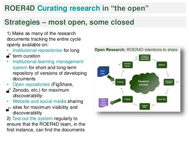 """ROER4D Curating research in """"the open""""  Strategies – most open, some closed  1) Make as many of the research  documents tr..."""