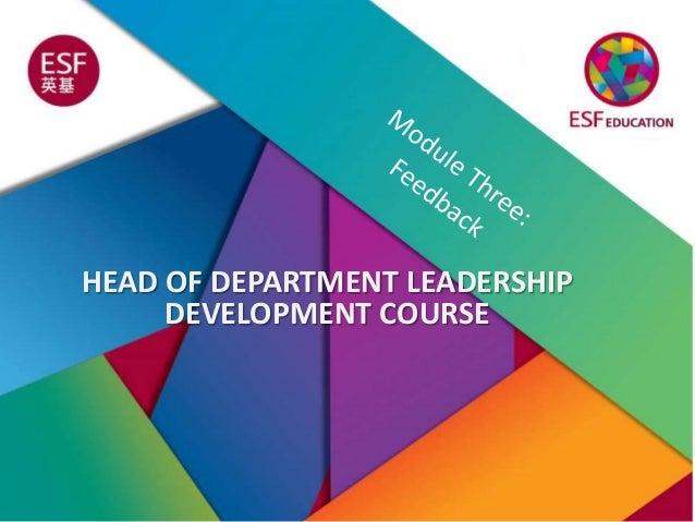 HEAD OF DEPARTMENT LEADERSHIP DEVELOPMENT COURSE