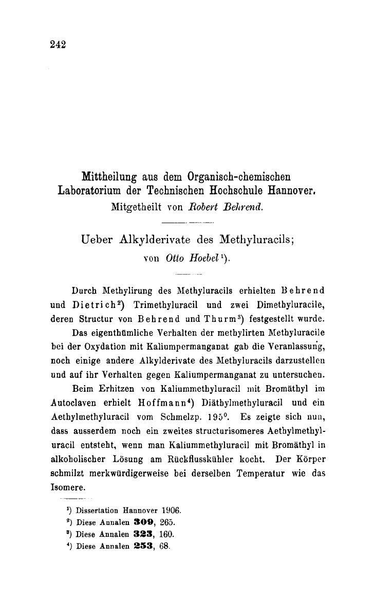 242     Mittheilung aus dem Organisch-chemischen Laboratorium der Technisohen Hochschule Hannover.                 Mitgeth...
