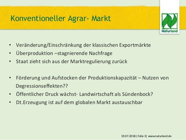 19.07.2018  Folie 3  www.naturland.de • Veränderung/Einschränkung der klassischen Exportmärkte • Überproduktion –stagniere...
