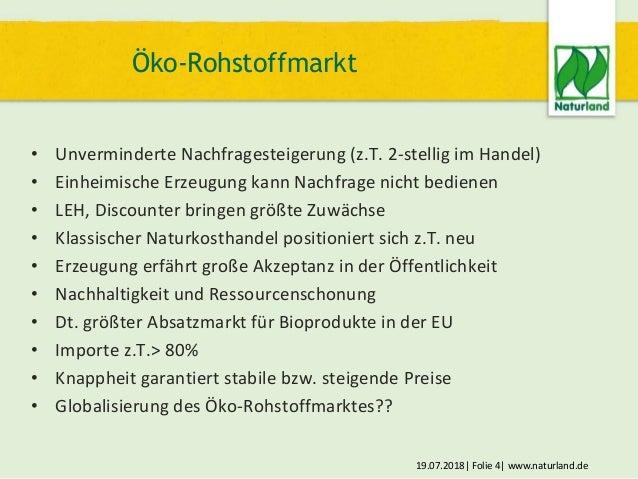 19.07.2018  Folie 4  www.naturland.de • Unverminderte Nachfragesteigerung (z.T. 2-stellig im Handel) • Einheimische Erzeug...