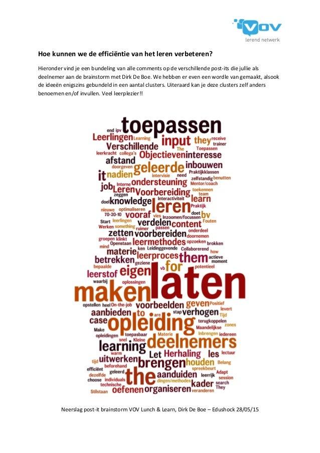 Neerslag post-it brainstorm VOV Lunch & Learn, Dirk De Boe – Edushock 28/05/15 Hoe kunnen we de efficiëntie van het leren ...