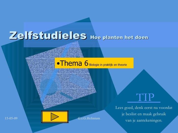 Zelfstudieles  Hoe planten het doen TIP  Lees goed, denk eerst na voordat je beslist en maak gebruik van je aantekeningen....