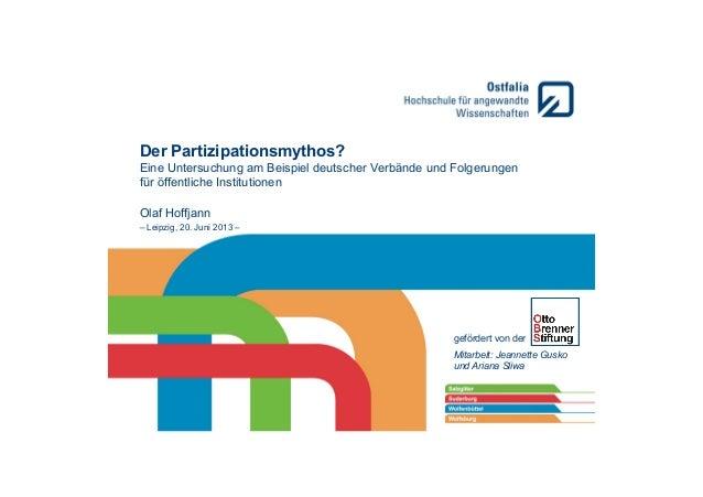 Der Partizipationsmythos? Eine Untersuchung am Beispiel deutscher Verbände und Folgerungen für öffentliche Institutionen O...