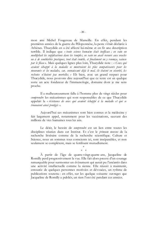 - 20 -mon ami Michel Fougereau de Marseille. En effet, pendant lespremières années de la guerre du Péloponnèse, la peste s...