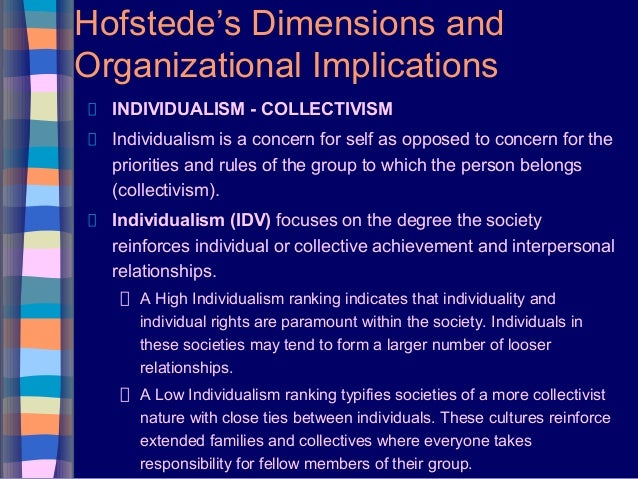 Hofstede's Dimensions and Organizational Implications INDIVIDUALISM - COLLECTIVISM Individualism is a concern for self as ...