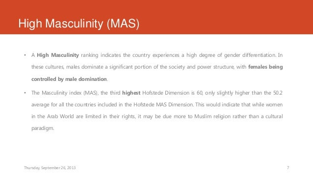 hofstede's masculinity index Hofstede's five dimensions and leadership essay  high scores of masculinity means more  america scores 46 points, which according to hofstede's index,.