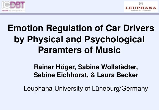 Emotion Regulation of Car Drivers by Physical and Psychological Paramters of Music Rainer Höger, Sabine Wollstädter, Sabin...