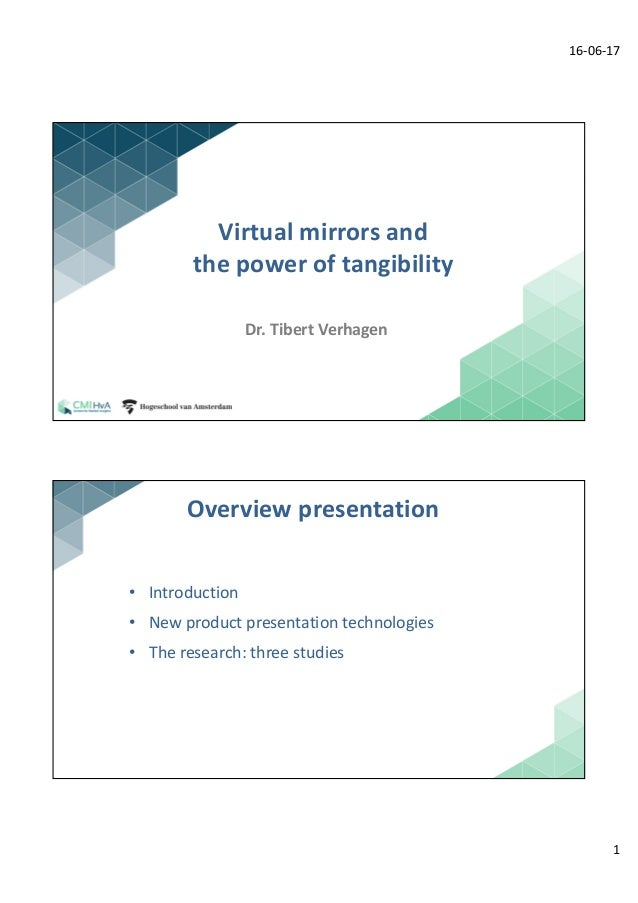 16-06-17 1 1 Virtual	mirrors	and	 the	power	of	tangibility Dr.	Tibert	Verhagen 2 • Introduction • New	product	presentation...