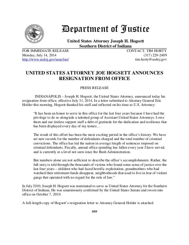 Department of Justice United States Attorney Joseph H. Hogsett Southern District of Indiana FOR IMMEDIATE RELEASE CONTACT:...