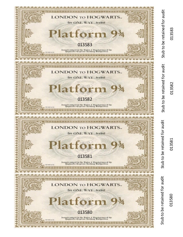 This is a picture of Hogwarts Express Ticket Printable with front
