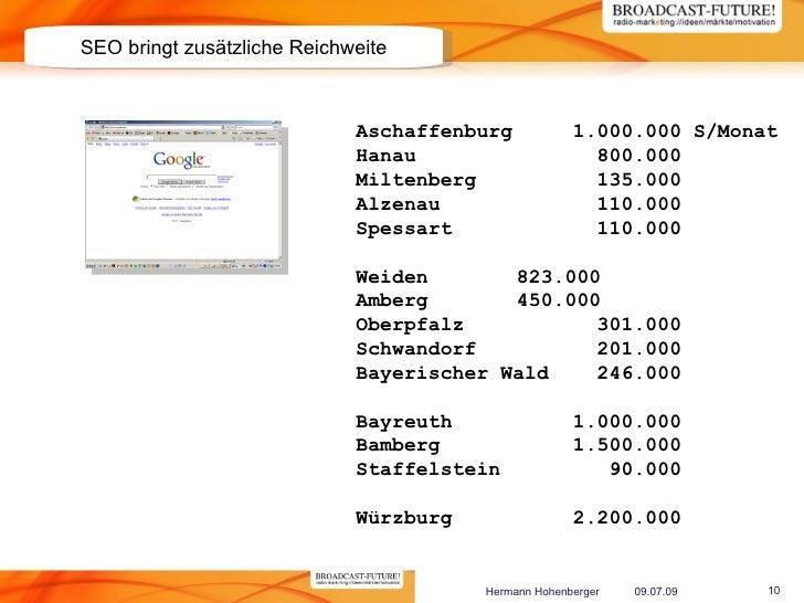 SEO bringt zusätzliche Reichweite                                 Aschaffenburg            1.000.000 S/Monat              ...