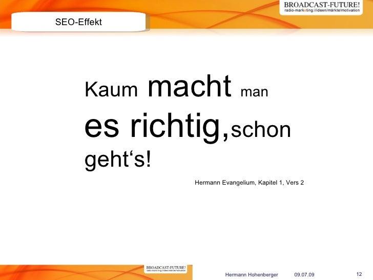 SEO-Effekt           Kaum   macht man       es richtig,schon       geht's!                 Hermann Evangelium, Kapitel 1, ...