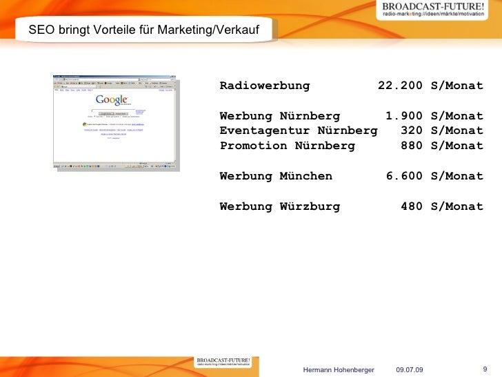SEO bringt Vorteile für Marketing/Verkauf                                      Radiowerbung                     22.200 S/M...