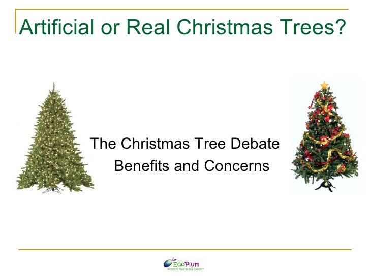 Artificial or Real Christmas Trees? <ul><li>The Christmas Tree Debate </li></ul><ul><li>Benefits and Concerns </li></ul>