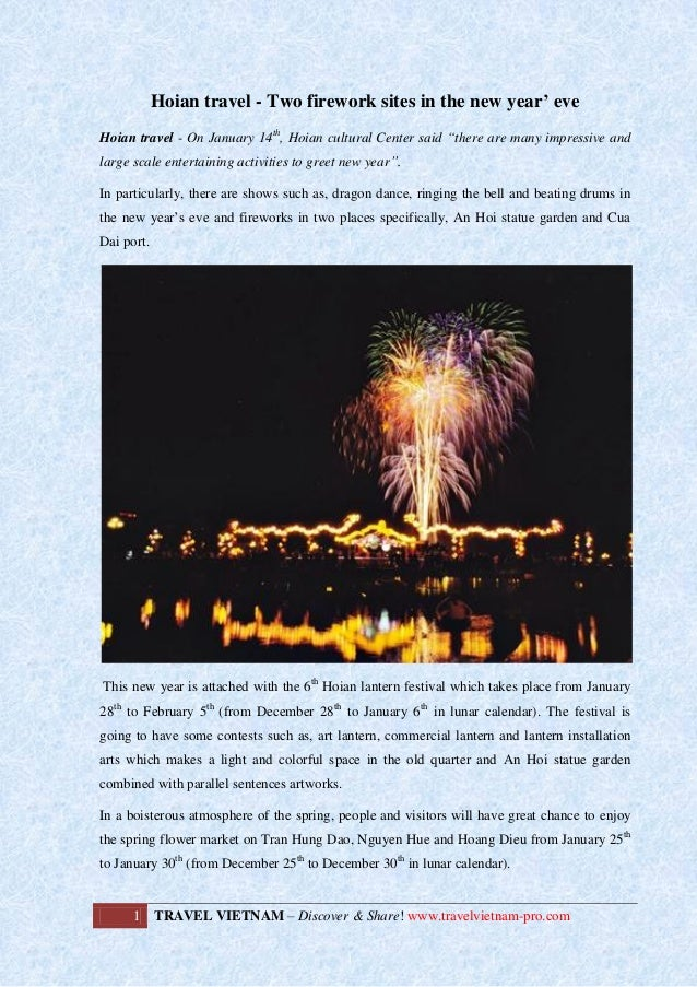 """Hoian travel - Two firework sites in the new year' eve Hoian travel - On January 14th, Hoian cultural Center said """"there a..."""