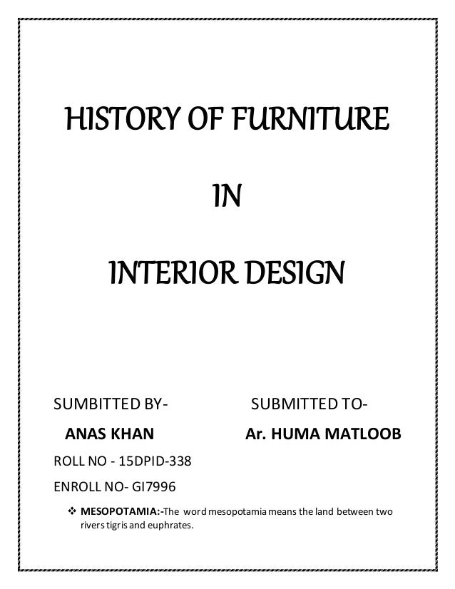 History of furniture in interior design for History of interior design