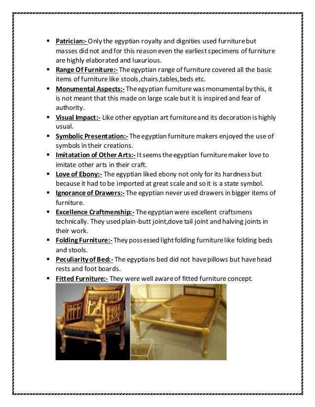 CHARACTERISTICS OF EGYPTIAN FURNITURE 3