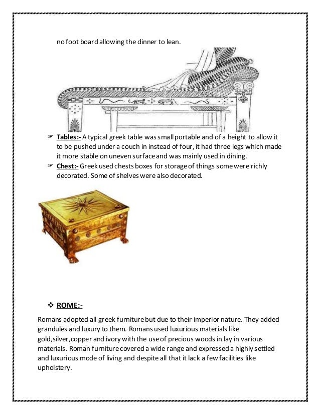History of furniture in interior design for Ancient roman interior decoration