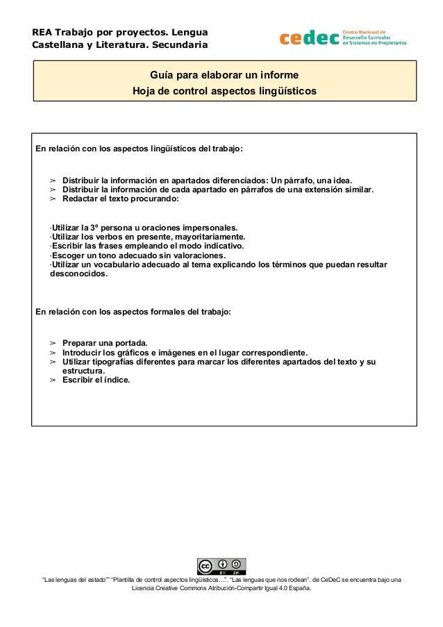 REA Trabajo por proyectos. Lengua Castellana y Literatura. Secundaria Guía para elaborar un informe Hoja de control aspect...