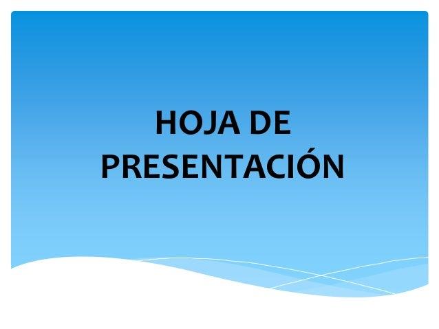 HOJA DE PRESENTACIÓN