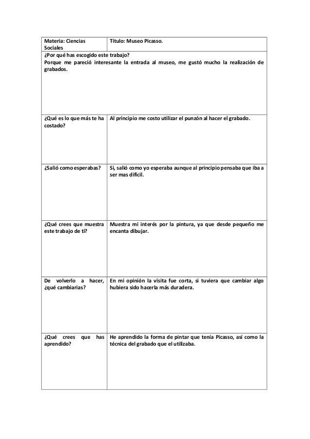 Materia: Ciencias Título: Museo Picasso. Sociales ¿Por qué has escogido este trabajo? Porque me pareció interesante la ent...