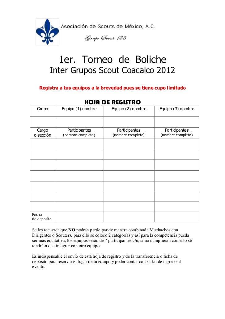 Hoja de registro Torneo de boliche
