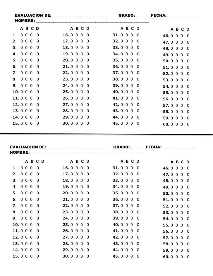 Hoja de respuestas vertical de 60