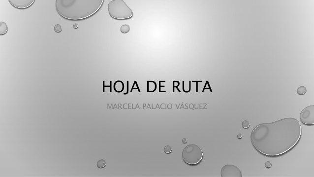 HOJA DE RUTA  MARCELA PALACIO VÁSQUEZ
