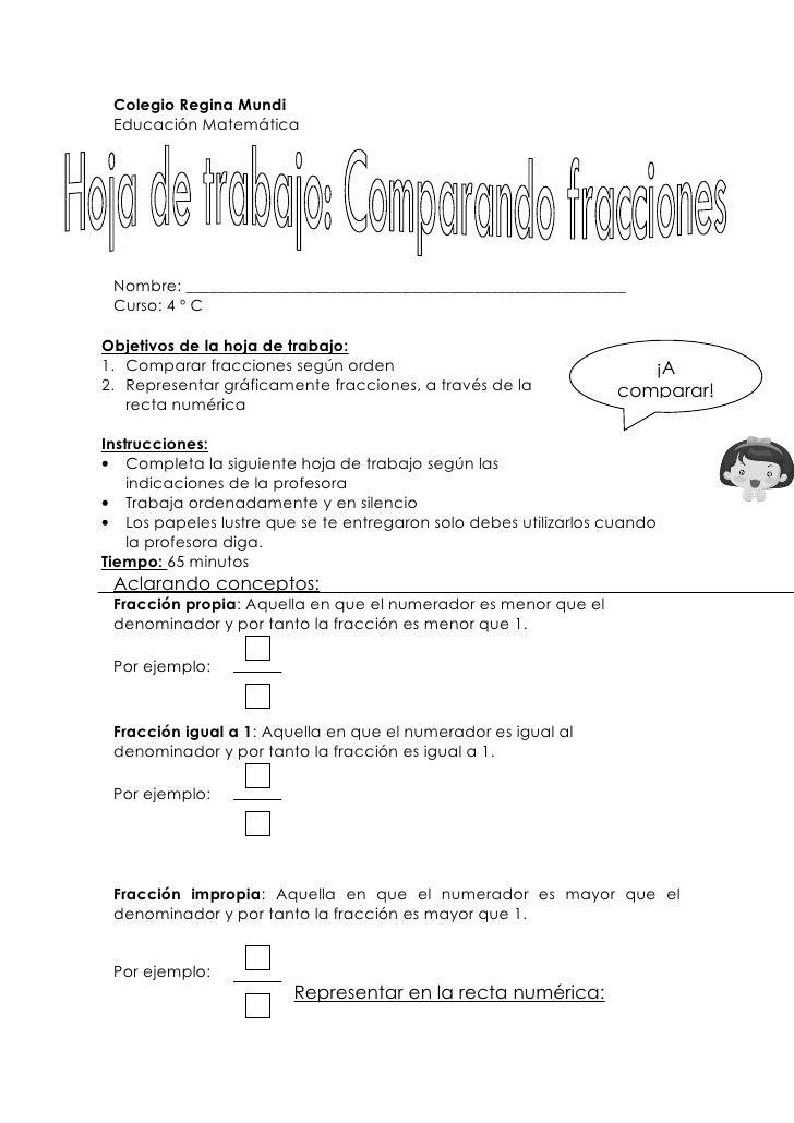 Hermosa Hojas De Trabajo En Fracciones Regalo - hojas de trabajo ...