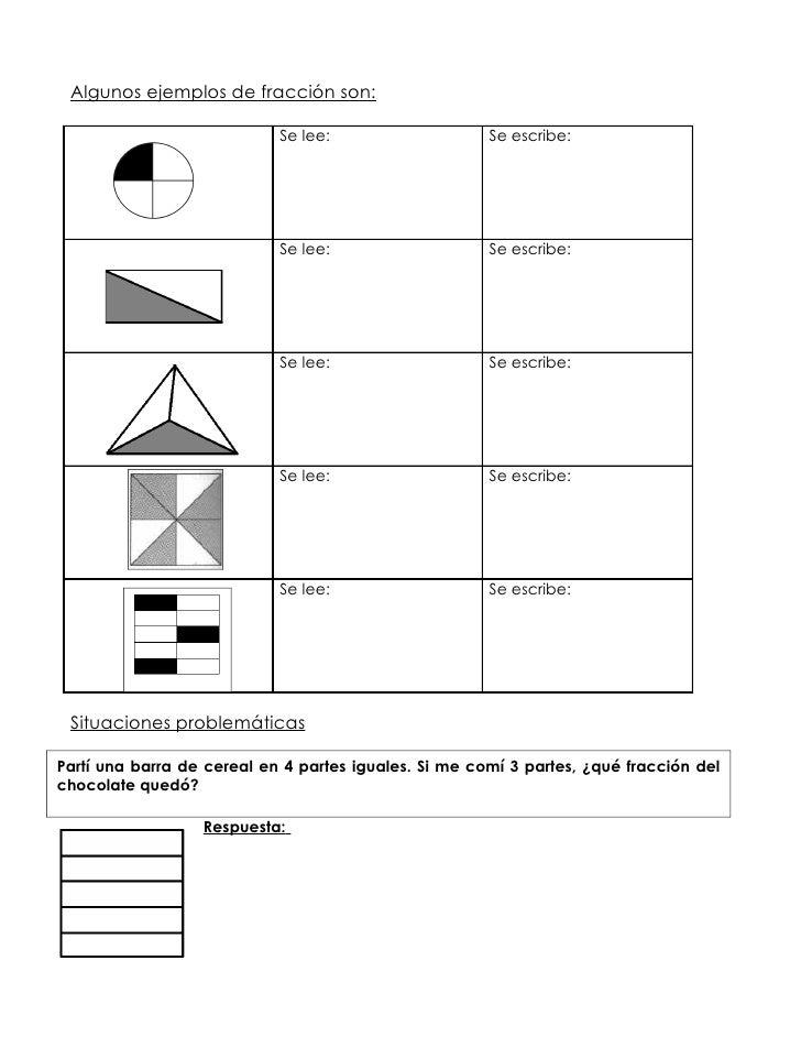 Hoja de trabajo las fracciones (anexo 1.3)