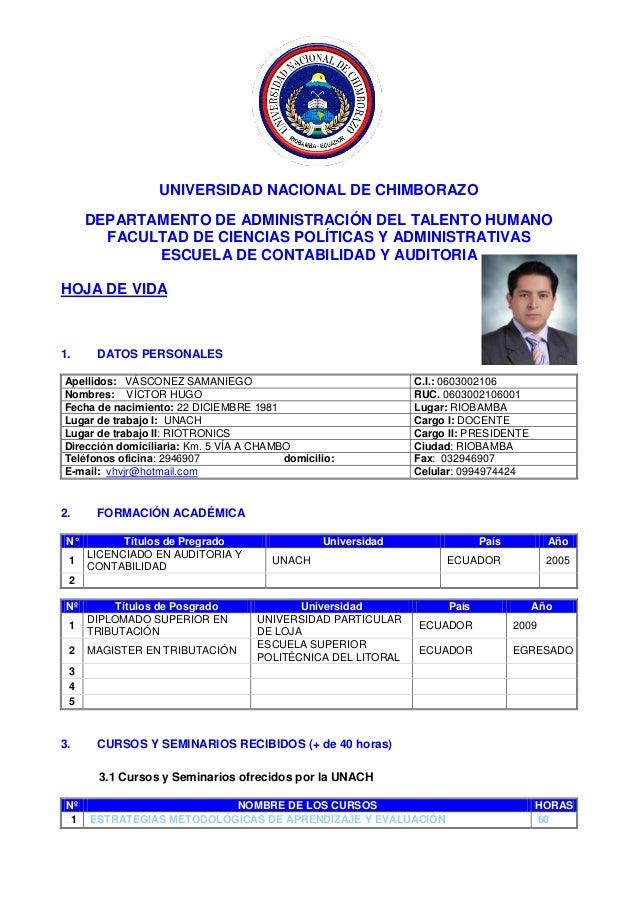 UNIVERSIDAD NACIONAL DE CHIMBORAZO DEPARTAMENTO DE ADMINISTRACIÓN DEL TALENTO HUMANO FACULTAD DE CIENCIAS POLÍTICAS Y ADMI...