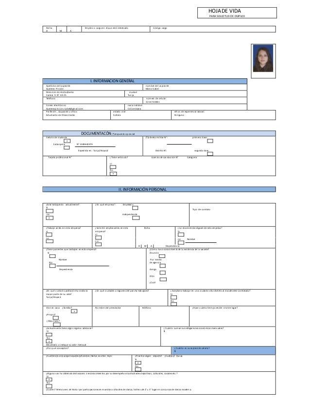 Fecha D M A Empleo o cargo en el que está interesado Código cargo I. INFORMACION GENERAL Apellidos del aspirante Guerrero ...