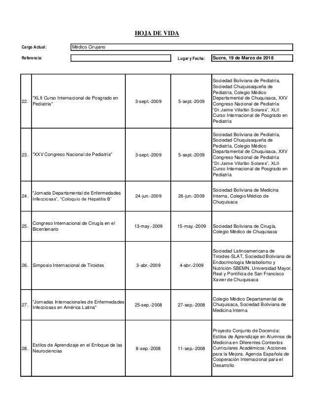 Lugar y Fecha: HOJA DE VIDA Cargo Actual: Médico Cirujano Referencia: Sucre, 19 de Marzo de 2018 22. 3-sept.-2009 5-sept.-...