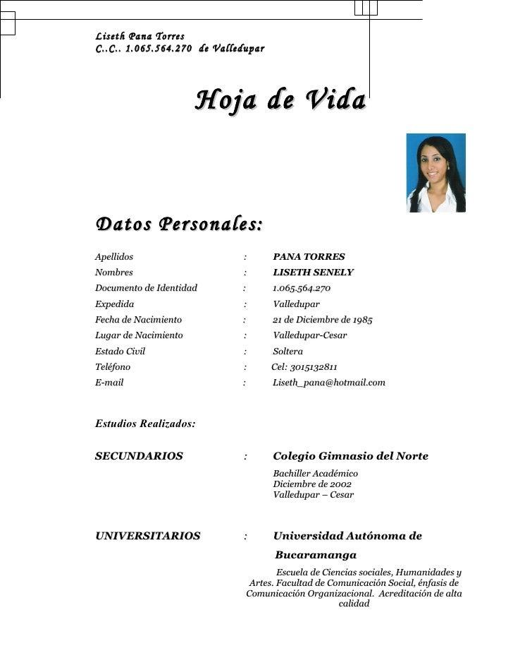 Liseth Pana Torres C..C.. 1.065.564.270 de Valledupar                           Hoja de Vida    Datos Personales: Apellido...