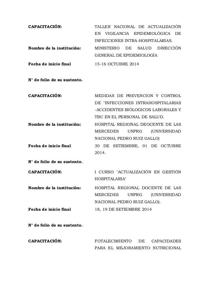 CAPACITACIÓN: TALLER NACIONAL DE ACTUALIZACIÓN EN VIGILANCIA EPIDEMIOLÓGICA DE INFECCIONES INTRA-HOSPITALARIAS. Nombre de ...