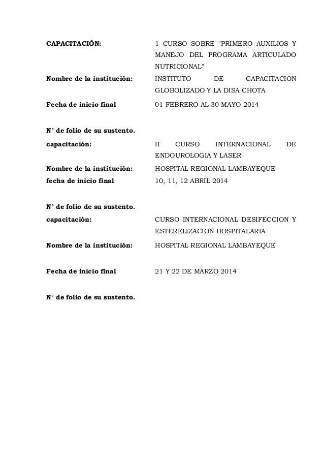 """CAPACITACIÓN: 1 CURSO SOBRE """"PRIMERO AUXILIOS Y MANEJO DEL PROGRAMA ARTICULADO NUTRICIONAL"""" Nombre de la institución: INST..."""