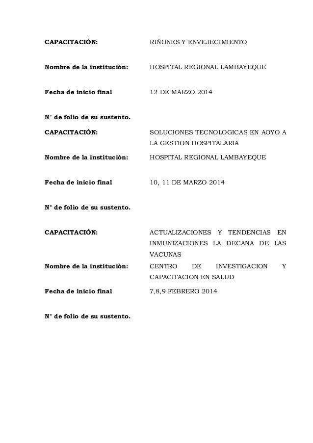 CAPACITACIÓN: RIÑONES Y ENVEJECIMIENTO Nombre de la institución: HOSPITAL REGIONAL LAMBAYEQUE Fecha de inicio final 12 DE ...