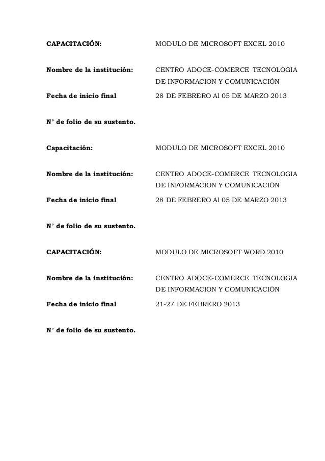 CAPACITACIÓN: MODULO DE MICROSOFT EXCEL 2010 Nombre de la institución: CENTRO ADOCE-COMERCE TECNOLOGIA DE INFORMACION Y CO...