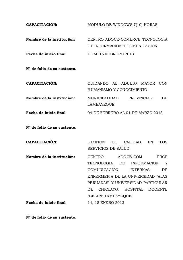 CAPACITACIÓN: MODULO DE WINDOWS 7(10) HORAS Nombre de la institución: CENTRO ADOCE-COMERCE TECNOLOGIA DE INFORMACION Y COM...