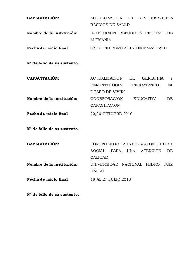CAPACITACIÓN: ACTUALIZACION EN LOS SERVICIOS BASICOS DE SALUD Nombre de la institución: INSTITUCION REPUBLICA FEDERAL DE A...