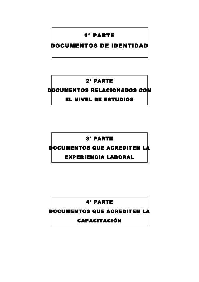 1° PARTE DOCUMENTOS DE IDENTIDAD 2° PARTE DOCUMENTOS RELACIONADOS CON EL NIVEL DE ESTUDIOS 3° PARTE DOCUMENTOS QUE ACREDIT...