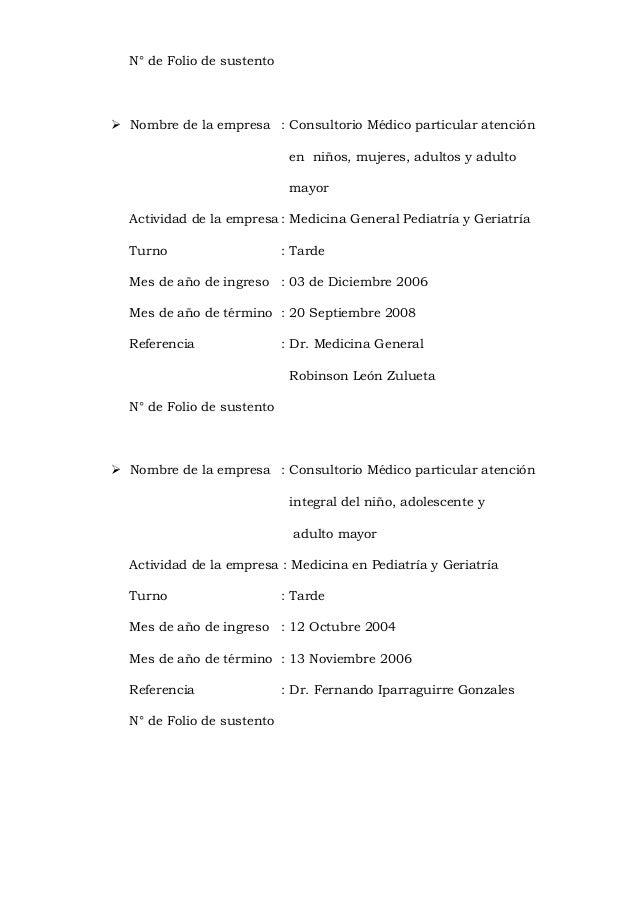 N° de Folio de sustento  Nombre de la empresa : Consultorio Médico particular atención en niños, mujeres, adultos y adult...
