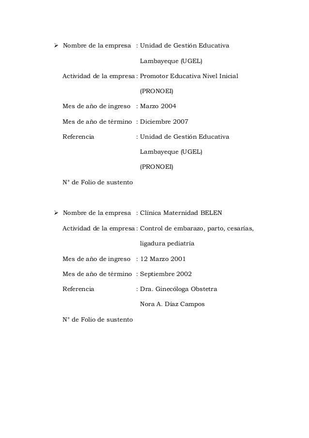  Nombre de la empresa : Unidad de Gestión Educativa Lambayeque (UGEL) Actividad de la empresa : Promotor Educativa Nivel ...