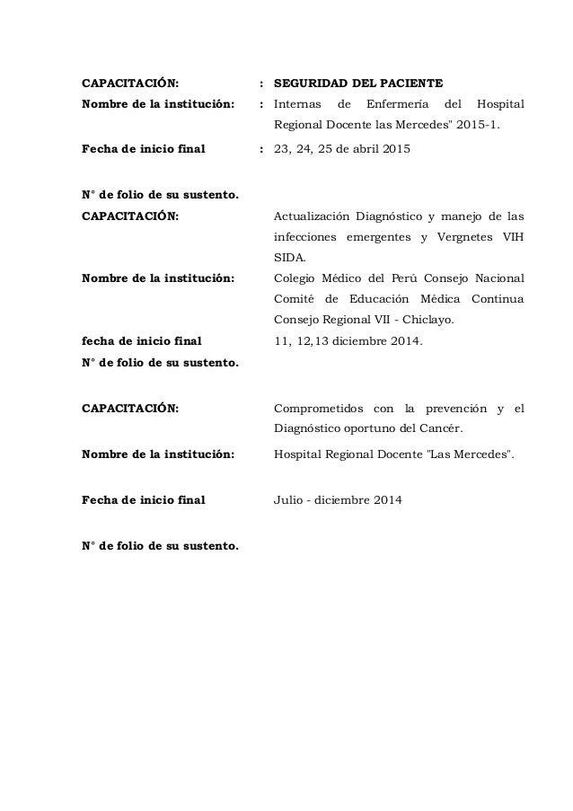 CAPACITACIÓN: : SEGURIDAD DEL PACIENTE Nombre de la institución: : Internas de Enfermería del Hospital Regional Docente la...