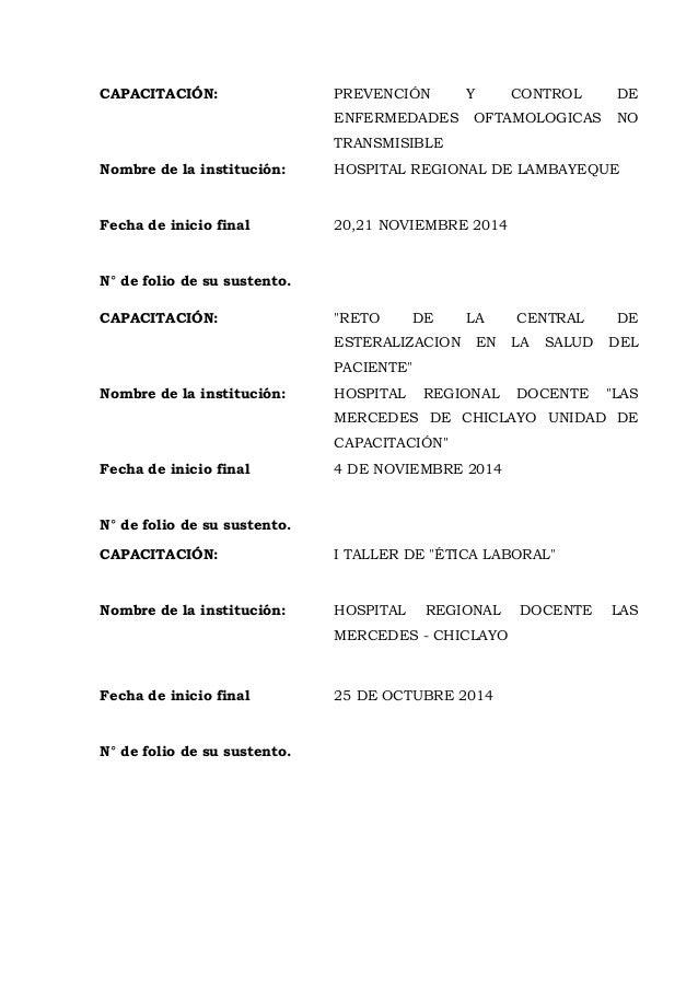 CAPACITACIÓN: PREVENCIÓN Y CONTROL DE ENFERMEDADES OFTAMOLOGICAS NO TRANSMISIBLE Nombre de la institución: HOSPITAL REGION...