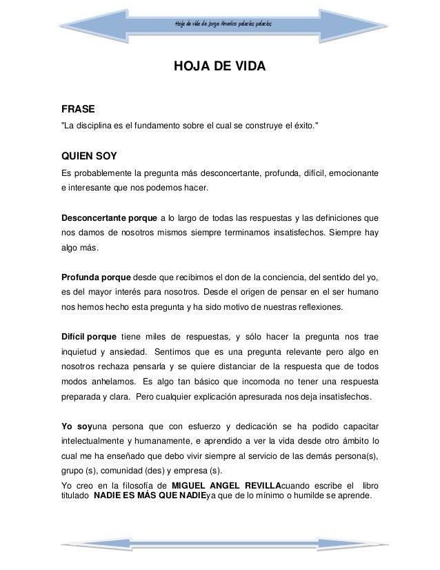 """Hoja de vida de Jorge Americo palacios palacios HOJA DE VIDA FRASE """"La disciplina es el fundamento sobre el cual se constr..."""