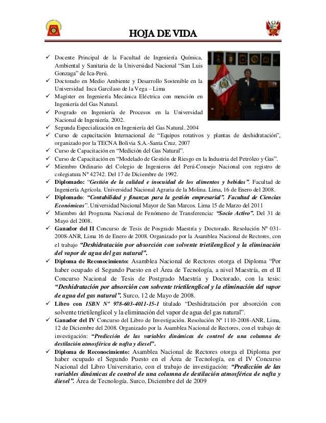 """HOJA DE VIDA Docente Principal de la Facultad de Ingeniería Química,  Ambiental y Sanitaria de la Universidad Nacional """"S..."""
