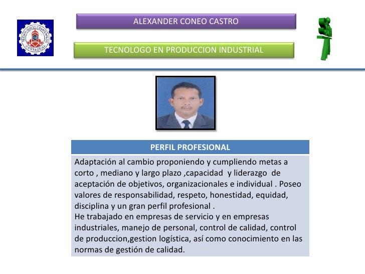 ALEXANDER CONEO CASTRO<br />TECNOLOGO EN PRODUCCION INDUSTRIAL<br />